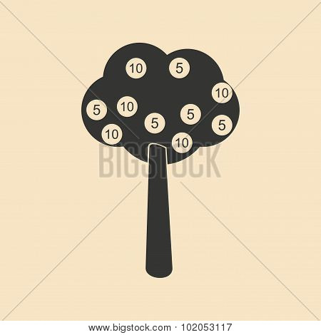 Flat in black and white tree coins