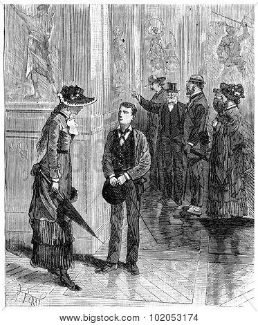 The Tour de France a small Parisian, John and Miss Kate, vintage engraved illustration. Journal des Voyage, Travel Journal, (1880-81).