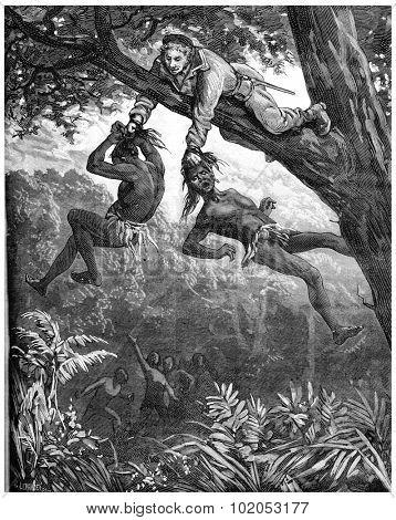 A Herculean task. It keeps hanging for a few seconds, vintage engraved illustration. Journal des Voyage, Travel Journal, (1880-81).
