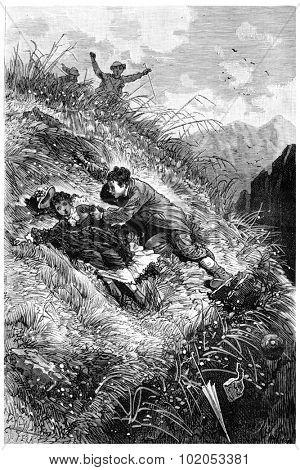 The Tour de France a small Parisian, John held her, vintage engraved illustration. Journal des Voyage, Travel Journal, (1880-81).