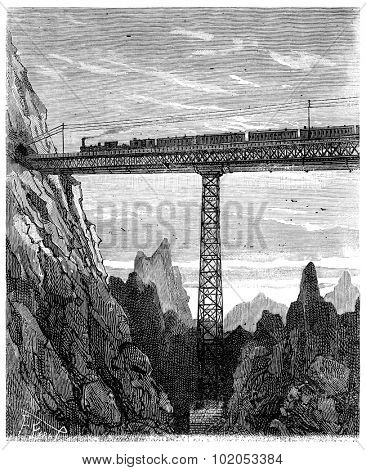 Adventures of an heir worldwide, On the train, Bridges dizzy, vintage engraved illustration. Journal des Voyage, Travel Journal, (1880-81).