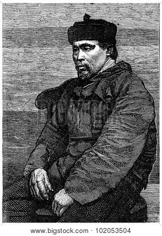 Hans Hendrik, Eskimo interpreter and guide, vintage engraved illustration. Journal des Voyage, Travel Journal, (1880-81).