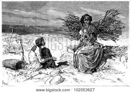 Somali women from Cape Guardafui, vintage engraved illustration. Journal des Voyage, Travel Journal, (1880-81).