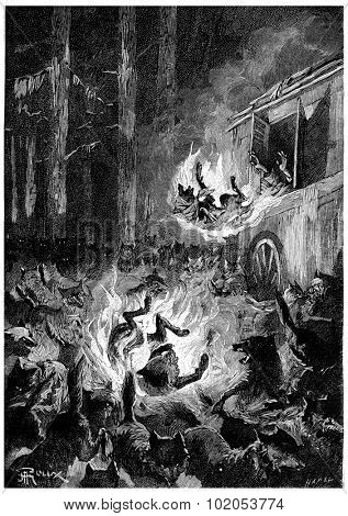 The wolves flee in terror, vintage engraved illustration. Jules Verne Cesar Cascabel, 1890.