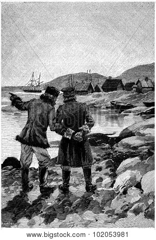 Two men were talking to the extremity of the port, vintage engraved illustration. Jules Verne Cesar Cascabel, 1890.
