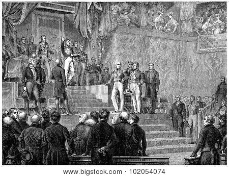 Louis-Philippe oath before the Chamber of Deputies, vintage engraved illustration. History of France 1885.