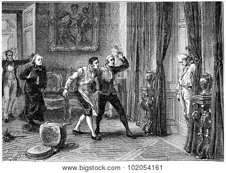 Death of the Prince of Conde, vintage engraved illustration. History of France 1885.