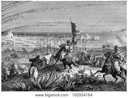 Battle of Staoueli, vintage engraved illustration. History of France 1885.