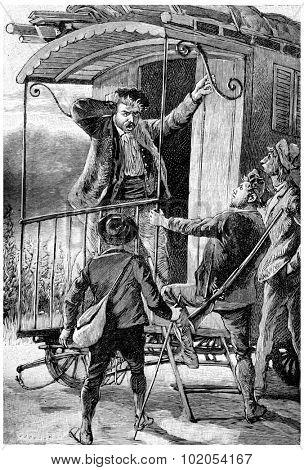 Cascabel reappeared, exclaiming: Stolen!, vintage engraved illustration. Jules Verne Cesar Cascabel, 1890.