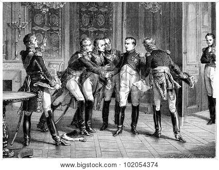 Abdication of napoleon, vintage engraved illustration. History of France  1885.