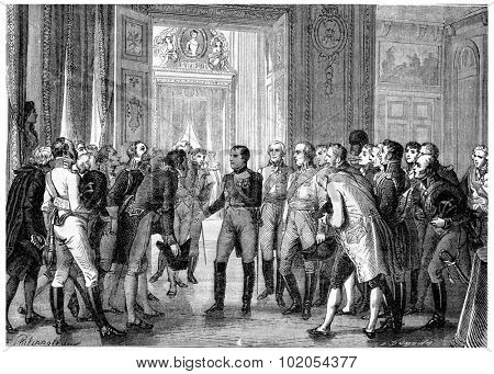 Napoleon in Dresden, vintage engraved illustration. History of France 1885 .