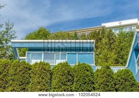 Fragment of a luxury house over outdoor landscape