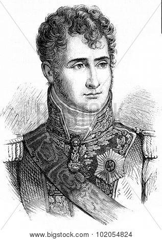 Jerome Bonaparte, vintage engraved illustration. History of France 1885.