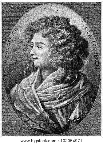 Portrait of Madame Roland, vintage engraved illustration.