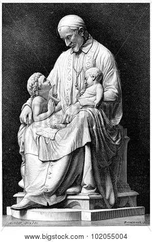 Saint Vincent de Paul, vintage engraved illustration.