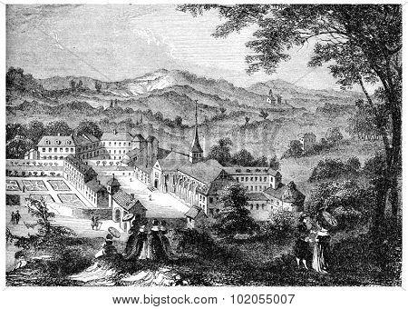 Port-Royal-des-Champs, after an engraving of the seventeenth century, vintage engraved illustration.