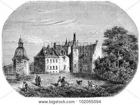 The Rock, Madame de Sevigne home in Brittany, vintage engraved illustration.