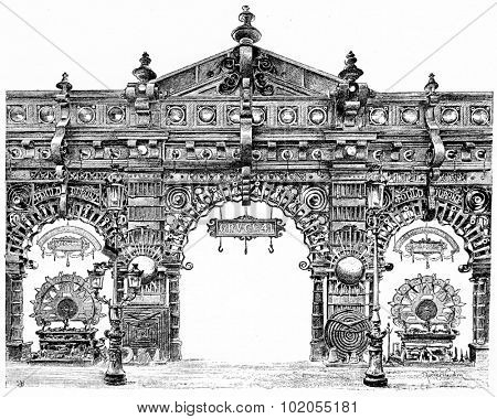 Decorative door of Metallurgy in the central gallery, vintage engraved illustration. Paris - Auguste VITU 1890