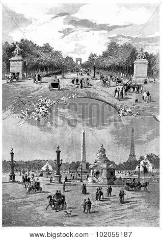 Place de la Concorde and Champs-Elysees avenue, vintage engraved illustration. Paris - Auguste VITU 1890.