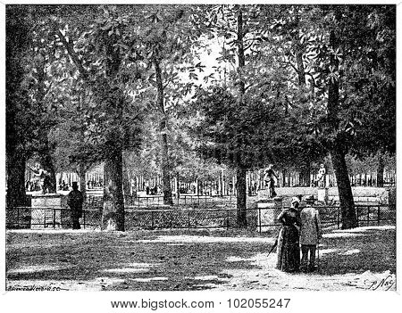 Under the chestnut trees of the Tuileries, vintage engraved illustration. Paris - Auguste VITU 1890.