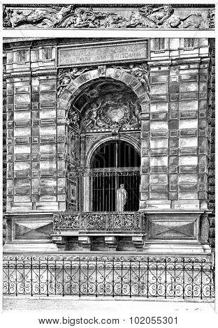 Window of the small gallery on the Quai du Louvre, vintage engraved illustration. Paris - Auguste VITU  1890.