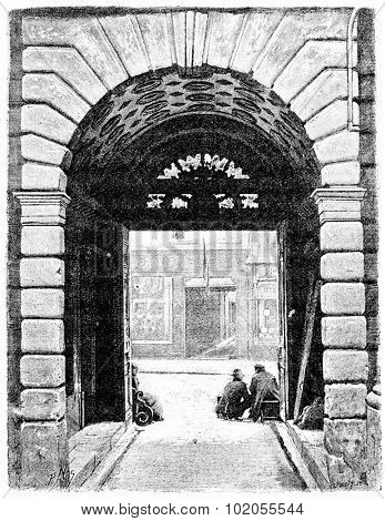 Portal Hotel de Sully, seen from the courtyard, vintage engraved illustration. Paris - Auguste VITU 1890.