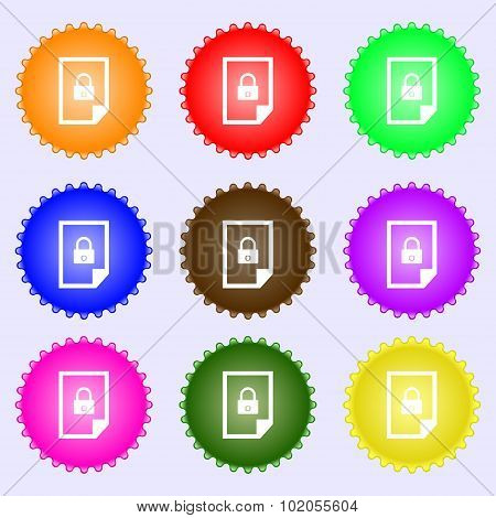 File Locked Icon Sign. A Set Of Nine Different Colored Labels. Vector