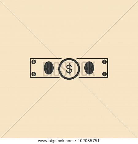 Flat in black and white dollar bill
