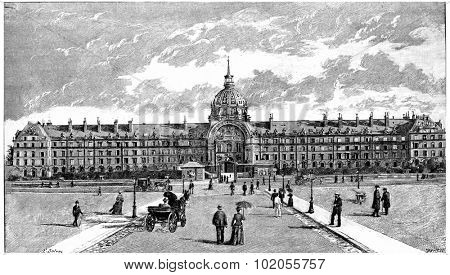 The National Residence of the Invalids, vintage engraved illustration. Paris - Auguste VITU  1890.