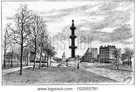 The artesian well Grenelle, vintage engraved illustration. Paris - Auguste VITU 1890.