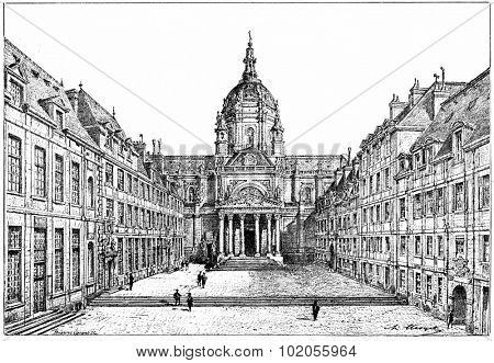 The courtyard of the Sorbonne, vintage engraved illustration. Paris - Auguste VITU 1890.