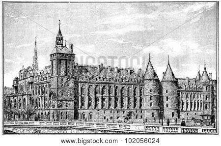 Courthouse, vintage engraved illustration. Paris - Auguste VITU  1890.