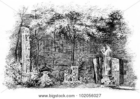 The ruins of the palace of the Thermes de Cluny in the garden, vintage engraved illustration. Paris - August 1890.