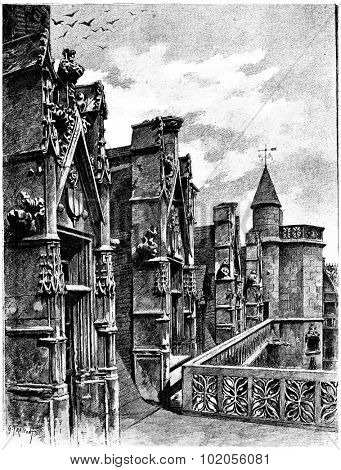Gallery update and dormers of the hotel Cluny, vintage engraved illustration. Paris - Auguste VITU  1890.