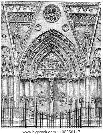 Exterior woodwork of the choir of Notre-Dame, vintage engraved illustration. Paris - Auguste VITU  1890.