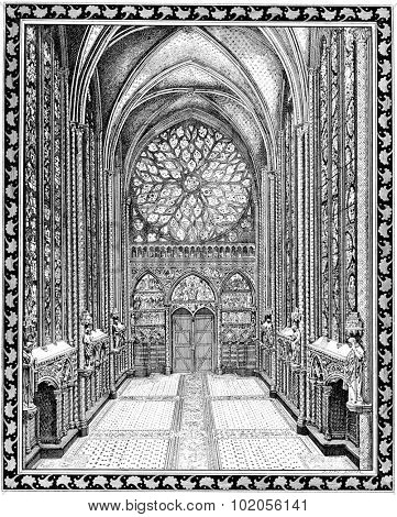 Upper chapel of the Sainte-Chapelle, vintage engraved illustration. Paris - August 1890.