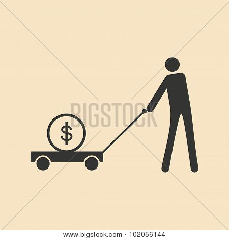 Flat black white man and dollar in cart