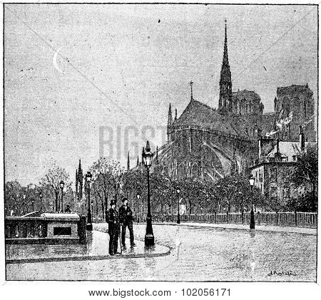 The apse of Notre Dame seen from St. Louis bridge, vintage engraved illustration. Paris - Auguste VITU  1890.