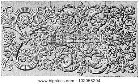 Forge hinges of the door of the Virgin, vintage engraved illustration. Paris - Auguste VITU  1890.