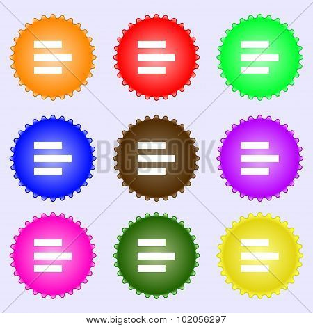 Left-aligned Icon Sign. A Set Of Nine Different Colored Labels. Vector
