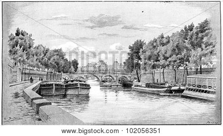The Pont-Neuf and the Louvre seen from the Quai des Augustins, vintage engraved illustration. Paris - Auguste VITU  1890.