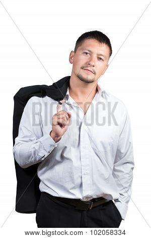 Portrait of a businessman holding his jacket over shoulder