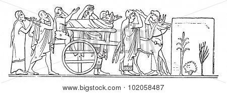 A convoy Greece, vintage engraved illustration.