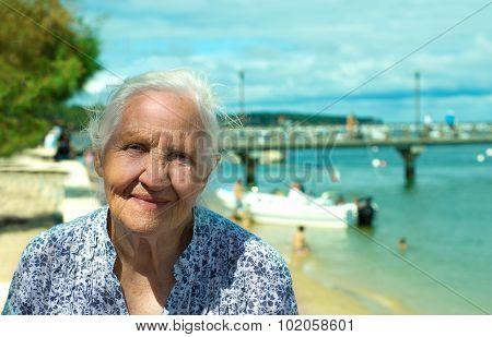 Smiling Senior Seaside