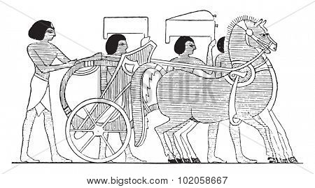 The preferred chariot, vintage engraved illustration.