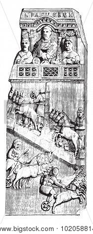 Ivory diptych tablet representing the racing circus, vintage engraved illustration. Industrial encyclopedia E.-O. Lami - 1875.