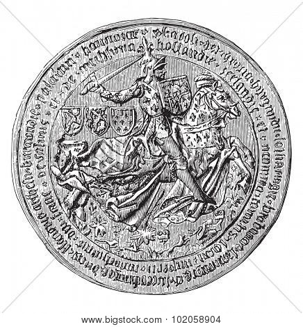 Great Seal of Charles the Bold, Duke of Burgundy, vintage engraved illustration. Industrial encyclopedia E.-O. Lami - 1875.