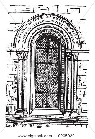 Window to Our Lady of Chalons, vintage engraved illustration. Industrial encyclopedia E.-O. Lami - 1875.