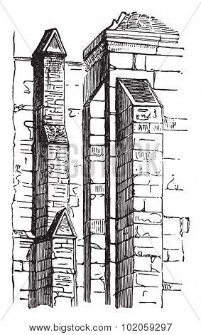 Buttresses, vintage engraved illustration. Industrial encyclopedia E.-O. Lami - 1875.