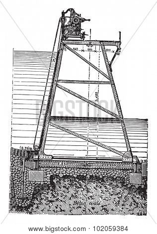 Rideau articulated applied to farmhouses and operating winch, vintage engraved illustration. Industrial encyclopedia E.-O. Lami - 1875.